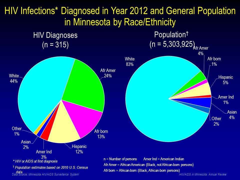 Data Source: Minnesota HIV/AIDS Surveillance System HIV/AIDS in Minnesota: Annual Review HIV Infections* Diagnosed in Year 2012 and General Population in Minnesota by Race/Ethnicity HIV Diagnoses (n = 315) Population † (n = 5,303,925) * HIV or AIDS at first diagnosis † Population estimates based on 2010 U.S.