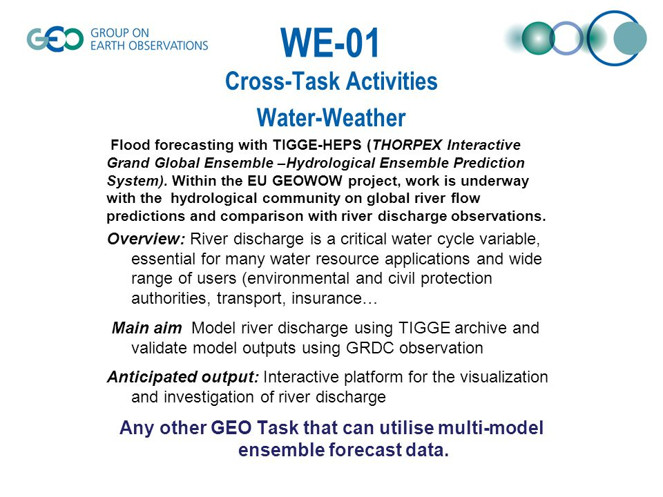 WE-01 Cross-Task Activities Water-Weather Flood forecasting with TIGGE-HEPS (THORPEX Interactive Grand Global Ensemble –Hydrological Ensemble Prediction System).