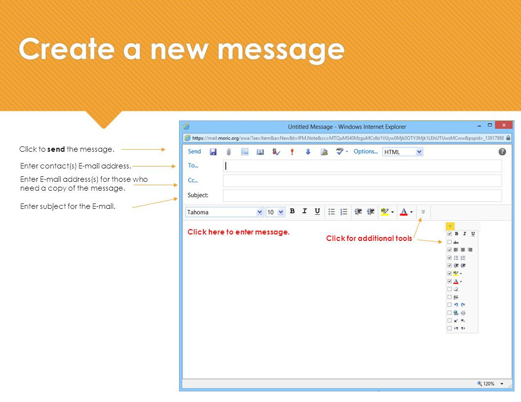 Create a new message Enter contact(s)  address.