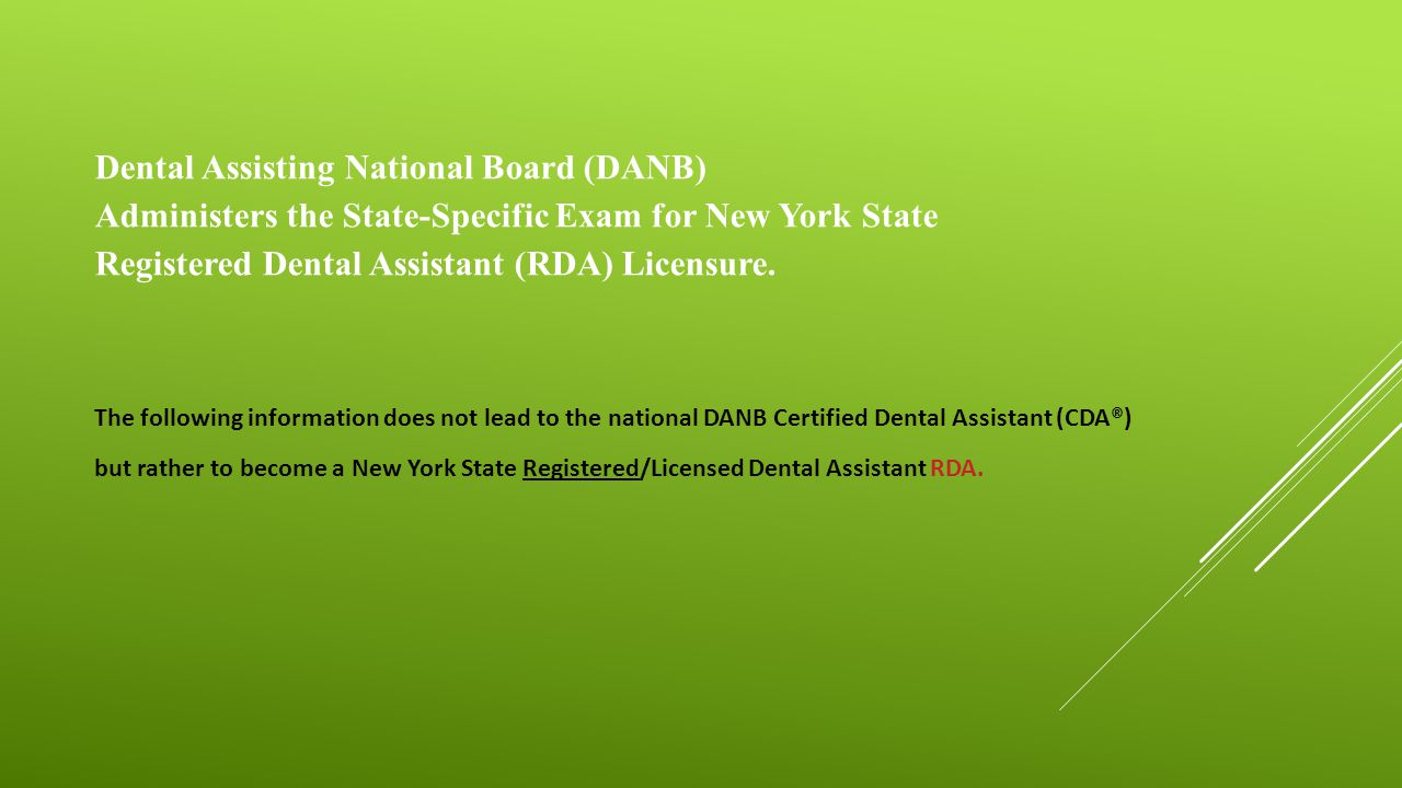 Overview of new york state dental assistants spring 2015 hudson dental assisting national board danb administers the state specific exam for new york xflitez Choice Image