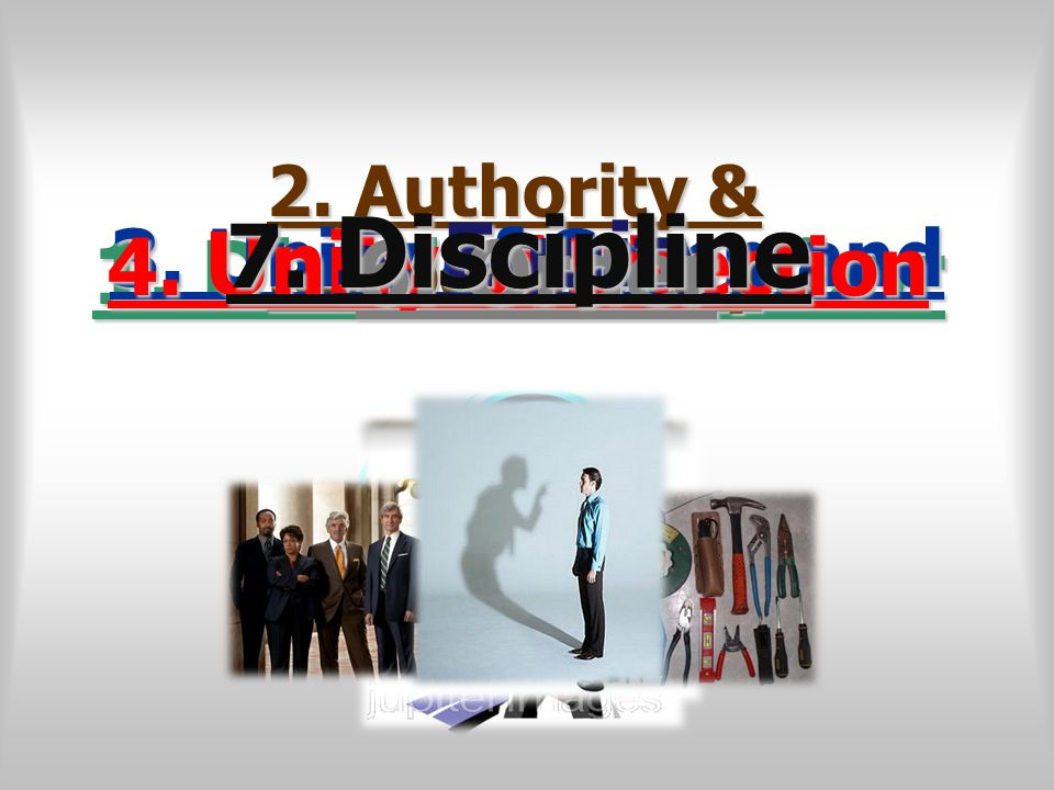 1. Division of Labor 2. Authority & Responsibility 3. Unity of Command4. Unity of Direction 5. Equity 6. Order 7. Discipline