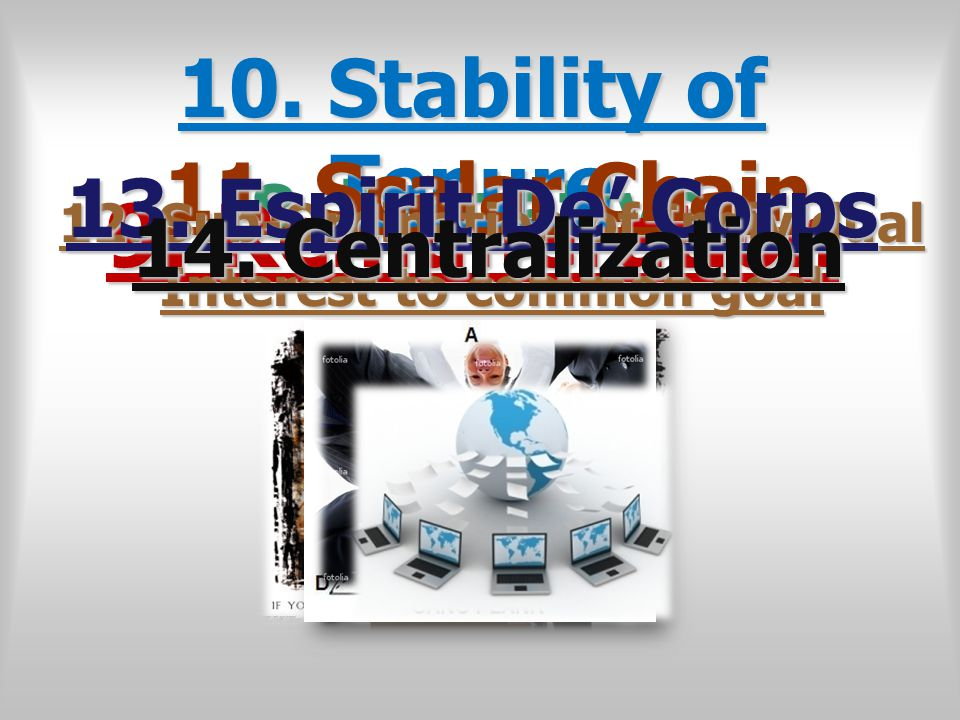 8. Initiative 9. Remuneration 10. Stability of Tenure 11. Scalar Chain 12. Sub-Ordination of Individual Interest to common goal 13. Espirit De' Corps