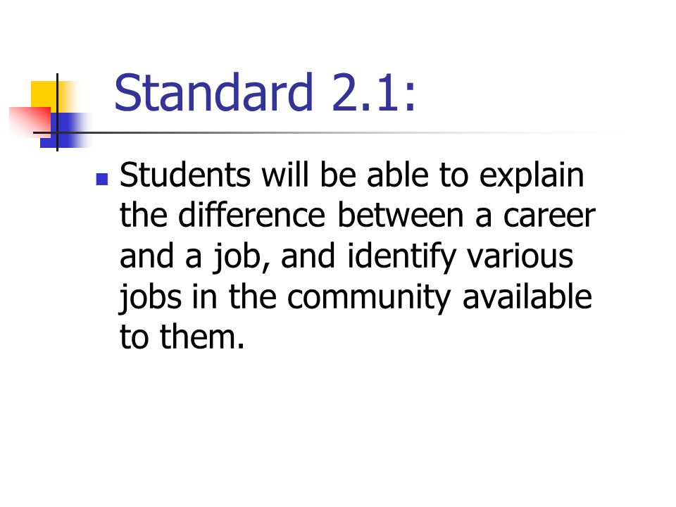 3 standard 21 students will be able to explain the difference between a career and a job and identify various jobs in the community available to them - Job Vs Career The Difference Between A Job And A Career