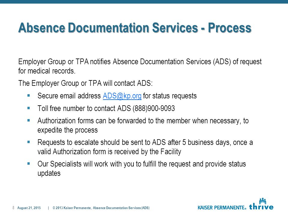 Absence Documentation Services (Ads) Elsa I. Gutierrez - Director