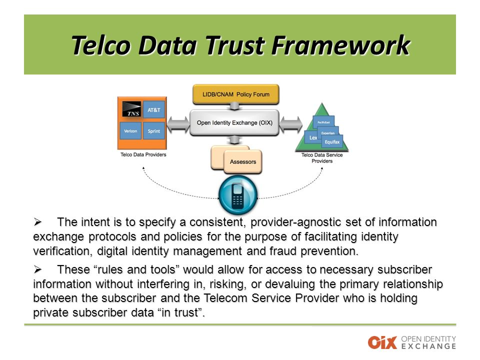 Telco Data Trust Framework  The intent is to specify a consistent, provider-agnostic set of information exchange protocols and policies for the purpose of facilitating identity verification, digital identity management and fraud prevention.