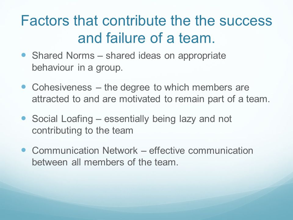 Factors that contribute the the success and failure of a team.