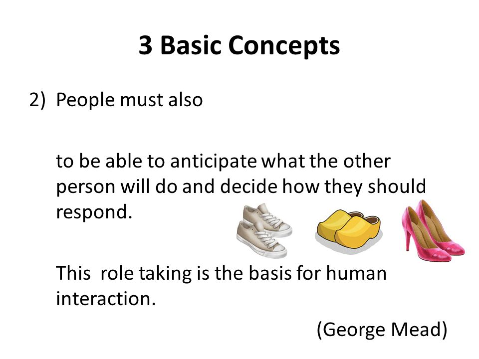 3 Basic Concepts 2)People must also to be able to anticipate what the other person will do and decide how they should respond.