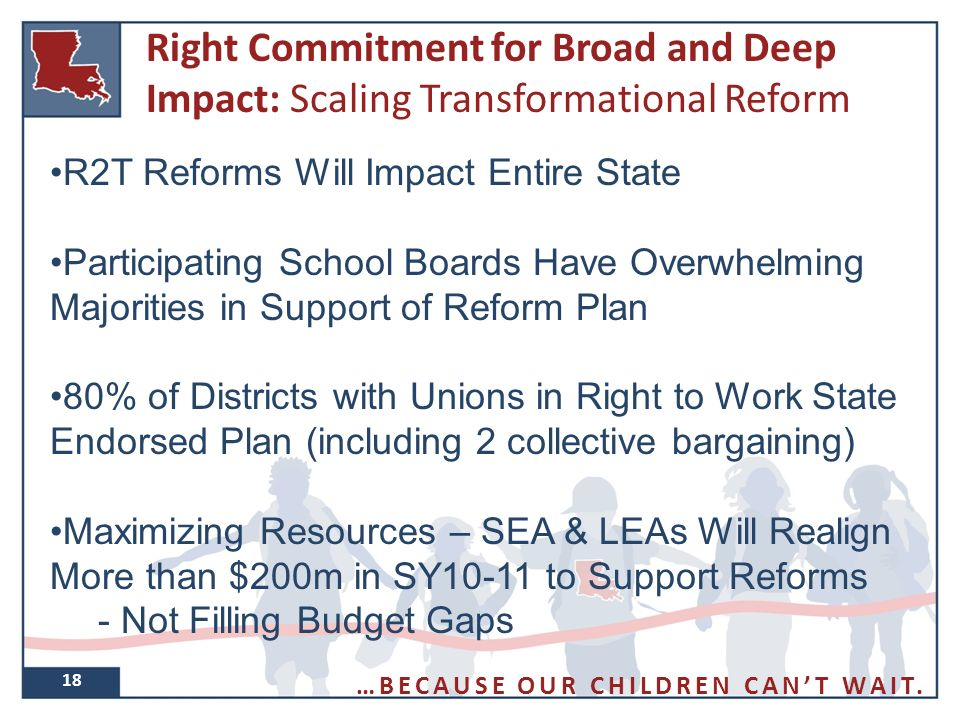 Right Commitment for Broad and Deep Impact: Scaling Transformational Reform 18 R2T Reforms Will Impact Entire State Participating School Boards Have Overwhelming Majorities in Support of Reform Plan 80% of Districts with Unions in Right to Work State Endorsed Plan (including 2 collective bargaining) Maximizing Resources – SEA & LEAs Will Realign More than $200m in SY10-11 to Support Reforms - Not Filling Budget Gaps …BECAUSE OUR CHILDREN CAN'T WAIT.
