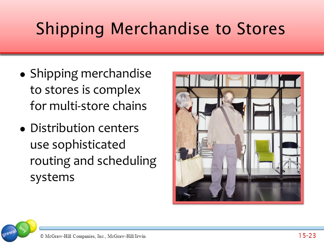 15-23 © McGraw-Hill Companies, Inc., McGraw-Hill/Irwin Shipping Merchandise to Stores Shipping merchandise to stores is complex for multi-store chains Distribution centers use sophisticated routing and scheduling systems
