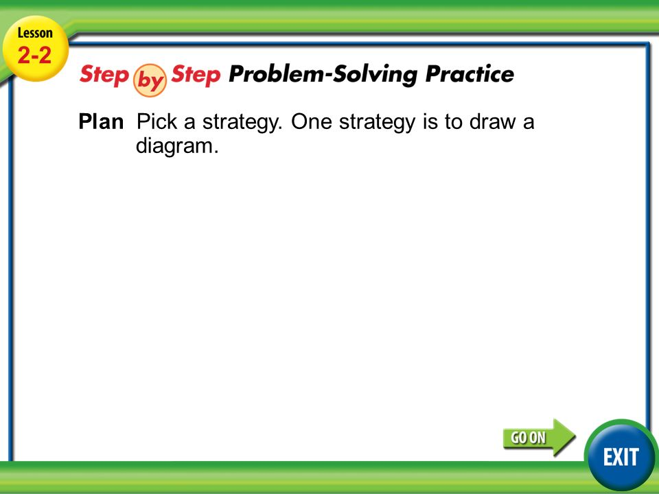 Lesson 2-2 Example Plan Pick a strategy. One strategy is to draw a diagram.