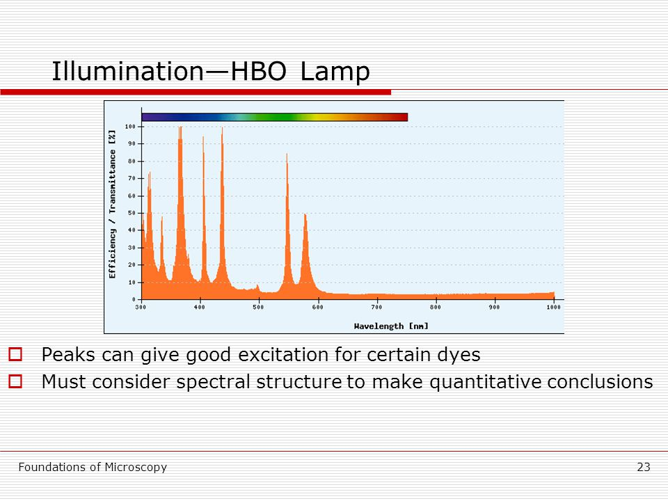 Foundations of Microscopy23 Illumination—HBO Lamp  Peaks can give good excitation for certain dyes  Must consider spectral structure to make quantitative conclusions