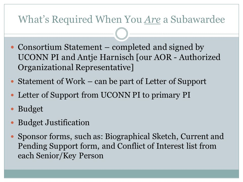 What's Required When You Have a Subawardee Subrecipient Consortium Statement – completed and signed by subawardee PI and their institutional authority – serves as Letter of Intent Statement of Work – can be part of Letter of Support Letter of Support from Subawardee PI Budget Budget Justification Sponsor forms, such as: Biographical Sketch, Current and Pending Support form, and Conflict of Interest list from each Senior/Key Person