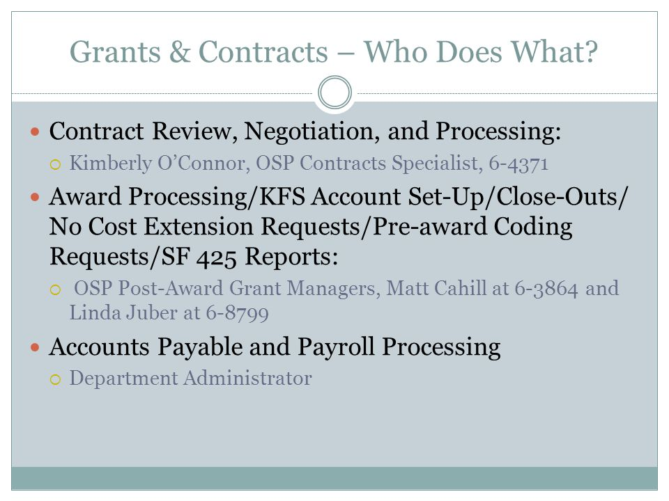 Grants & Contracts – Who Does What.