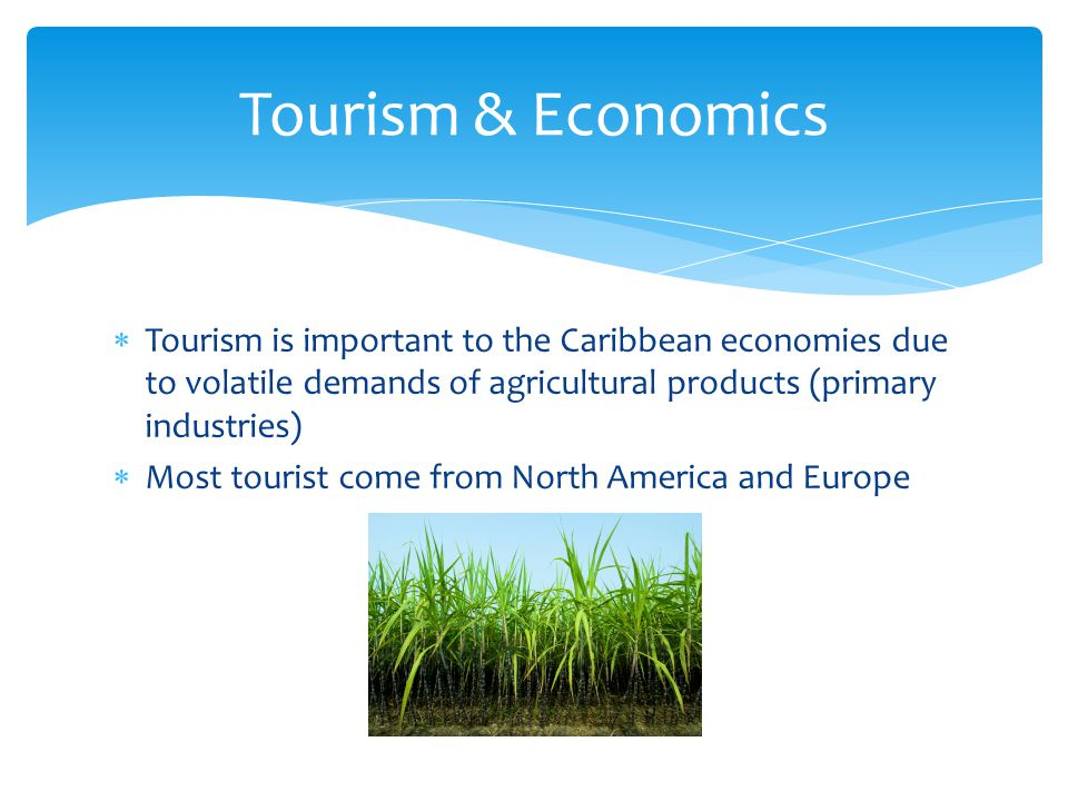  Tourism is important to the Caribbean economies due to volatile demands of agricultural products (primary industries)  Most tourist come from North America and Europe Tourism & Economics