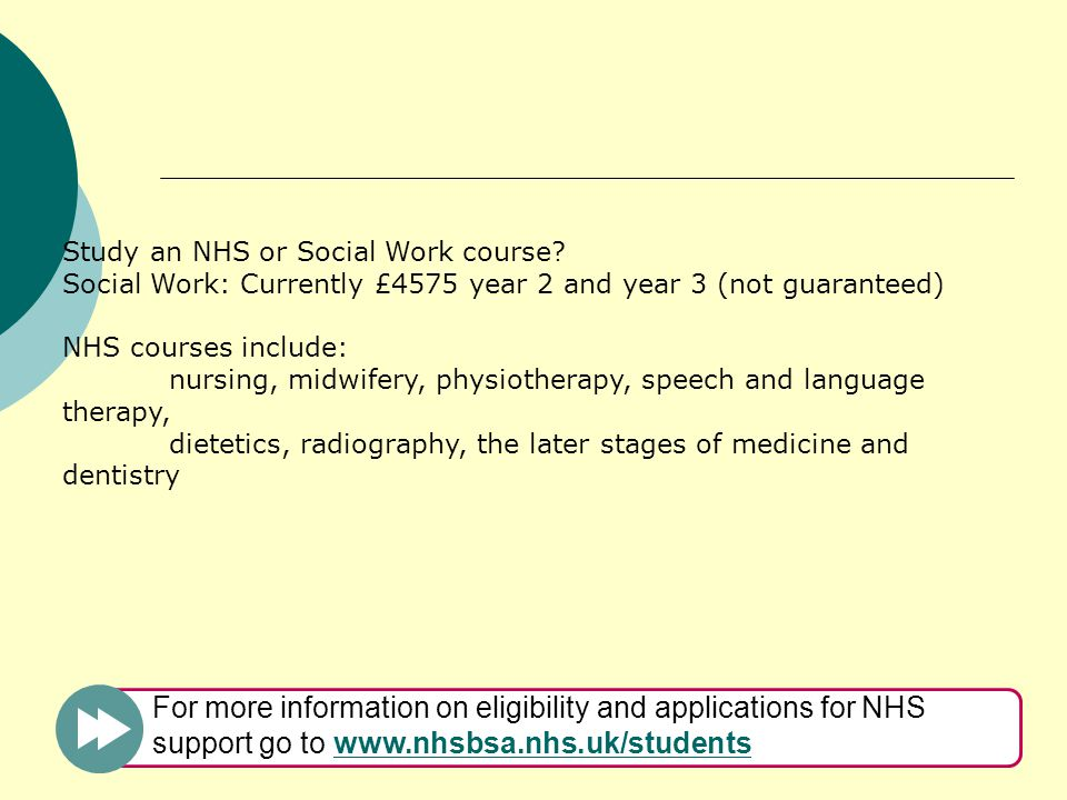 Study an NHS or Social Work course.