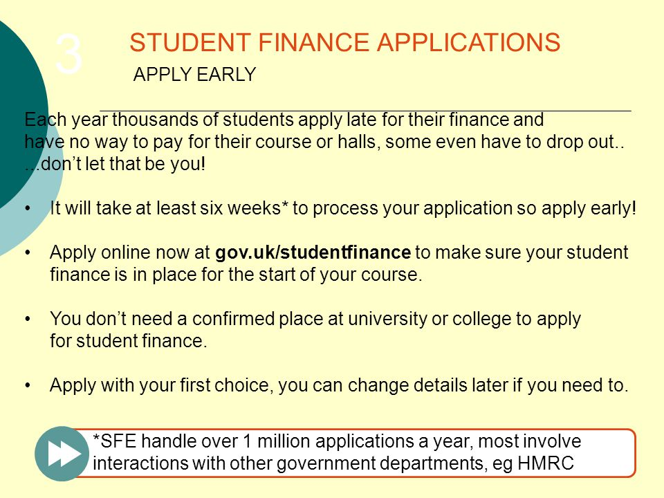 Each year thousands of students apply late for their finance and have no way to pay for their course or halls, some even have to drop out.....don't let that be you.