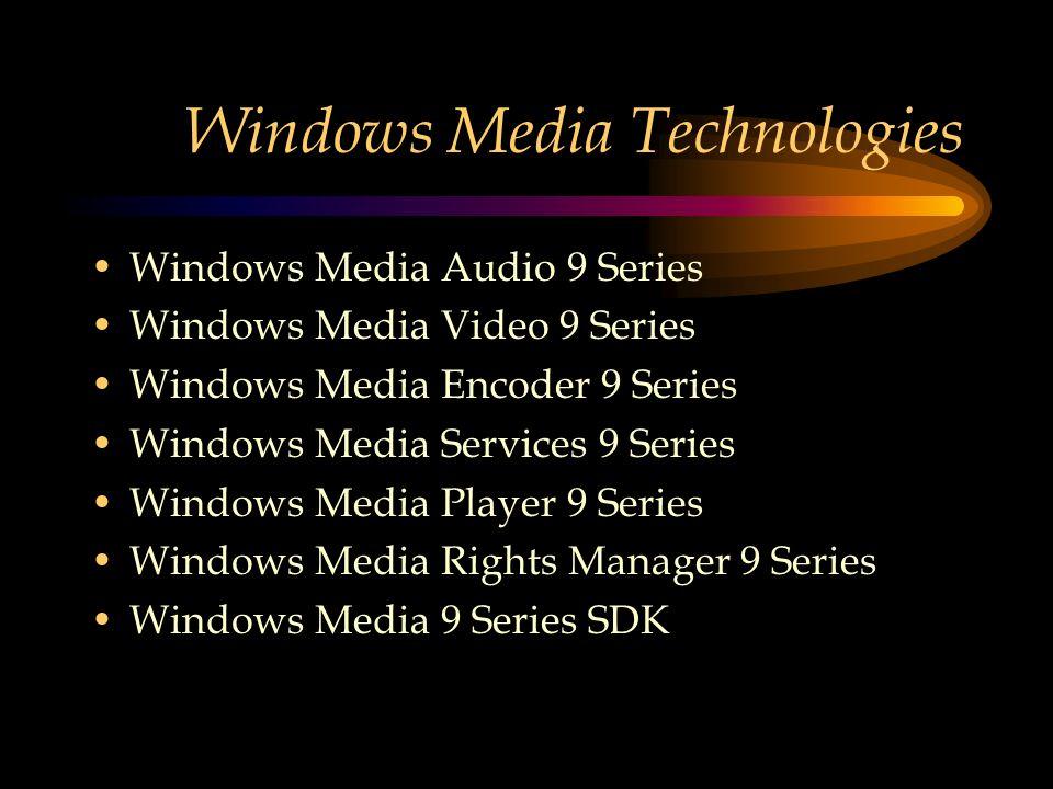 Windows Media Technologies Windows Media Audio 9 Series Windows Media Video 9 Series Windows Media Encoder 9 Series Windows Media Services 9 Series Windows Media Player 9 Series Windows Media Rights Manager 9 Series Windows Media 9 Series SDK