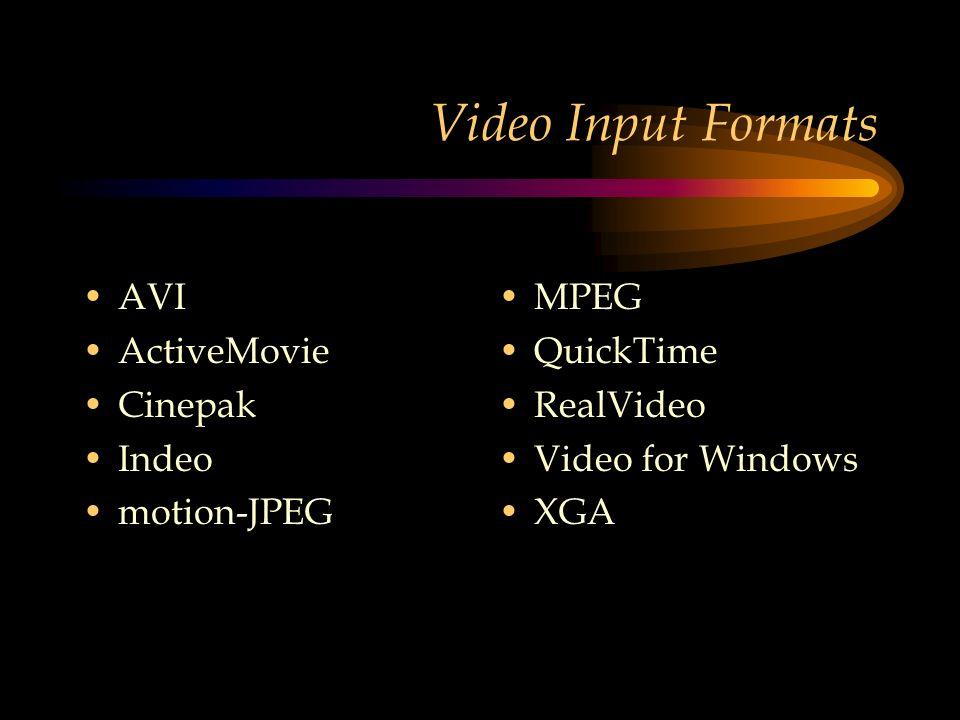 Video Input Formats AVI ActiveMovie Cinepak Indeo motion-JPEG MPEG QuickTime RealVideo Video for Windows XGA