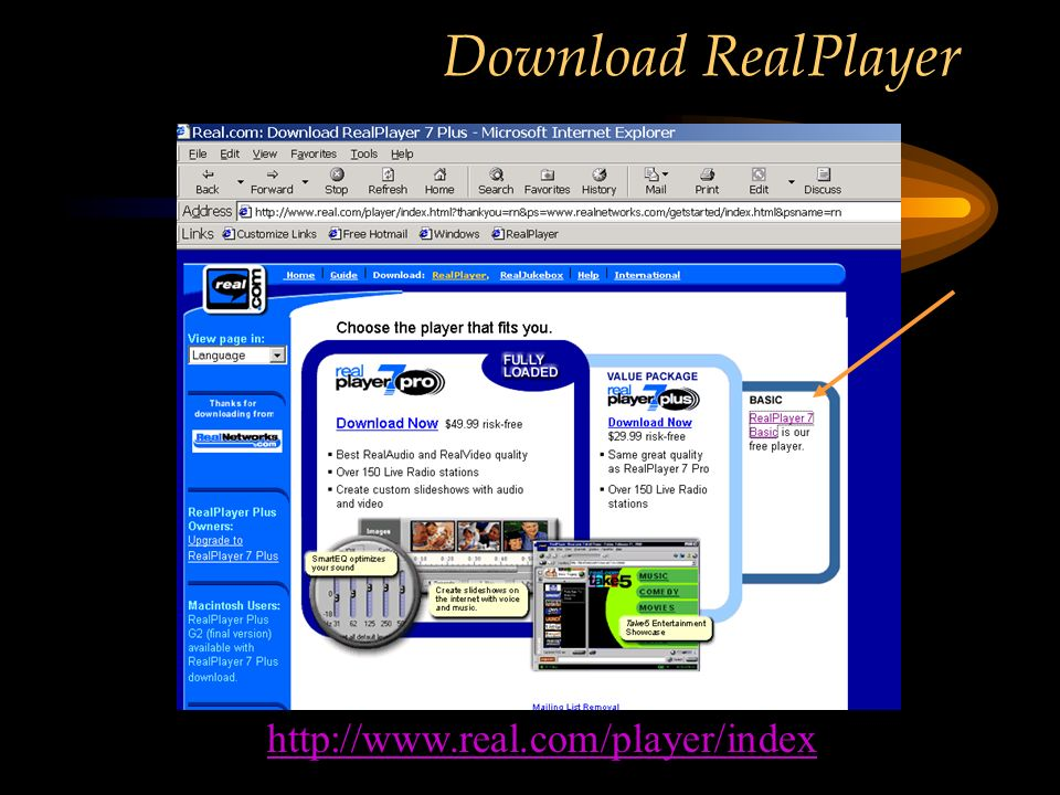 Download RealPlayer http://www.real.com/player/index