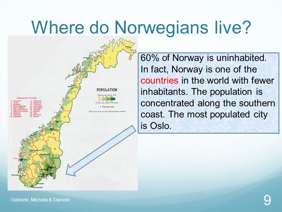 Where do Norwegians live. 60% of Norway is uninhabited.