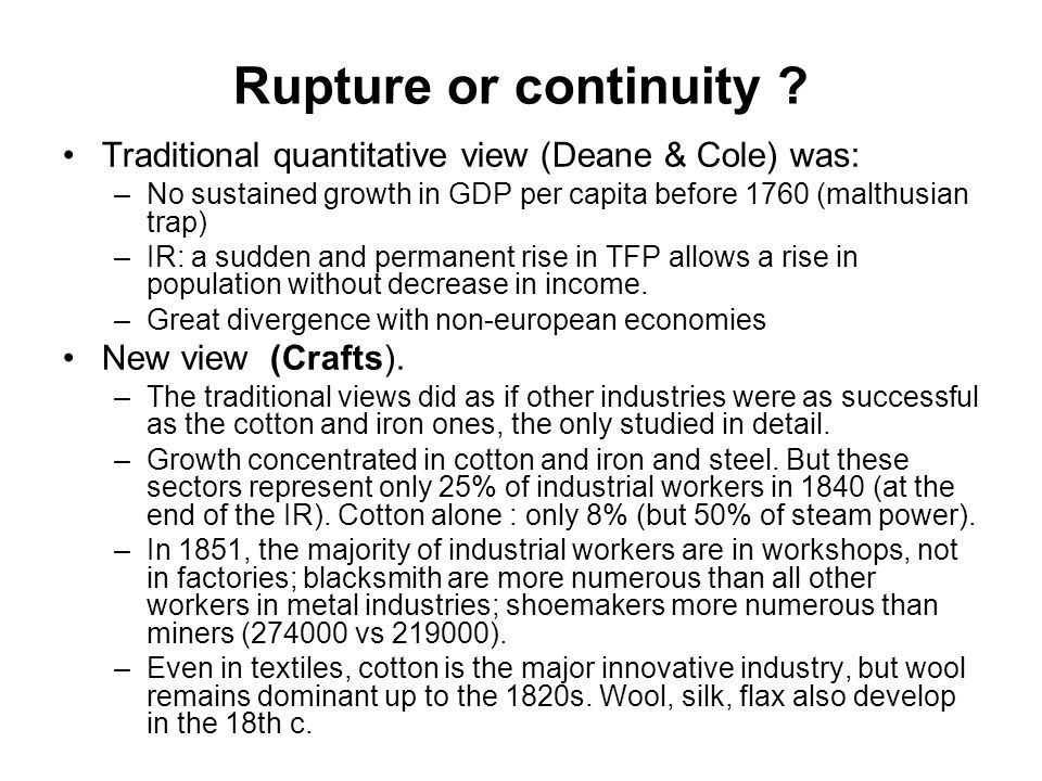 Rupture or continuity .