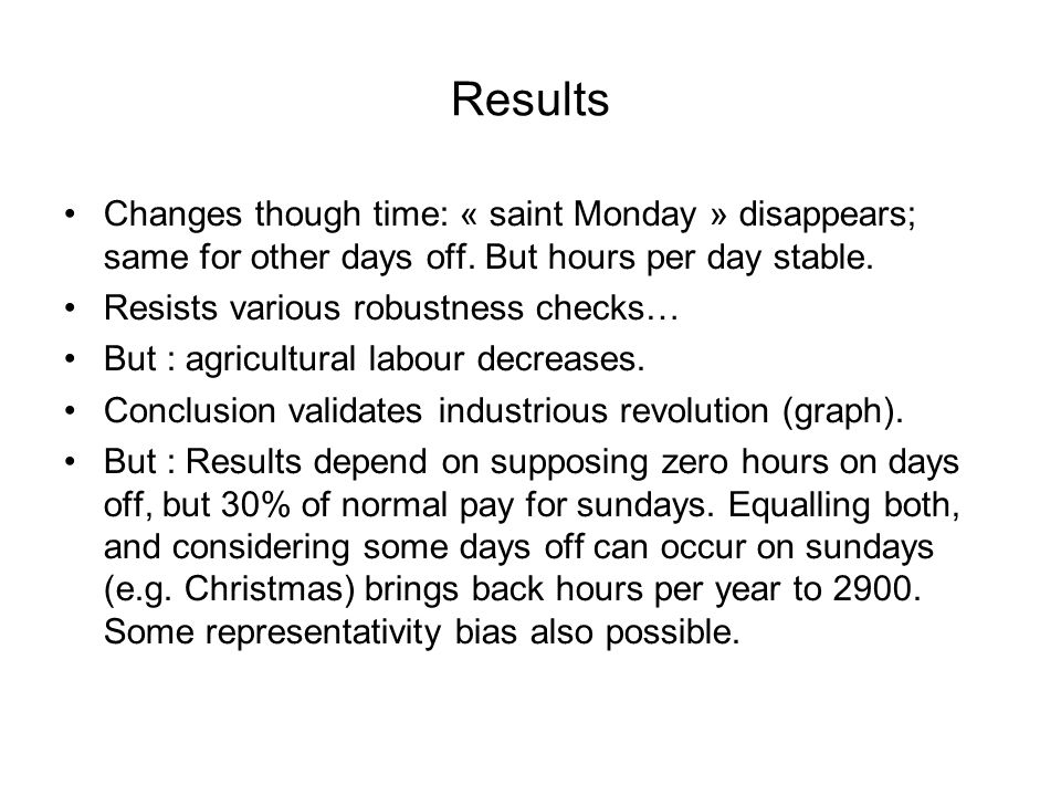 Results Changes though time: « saint Monday » disappears; same for other days off.