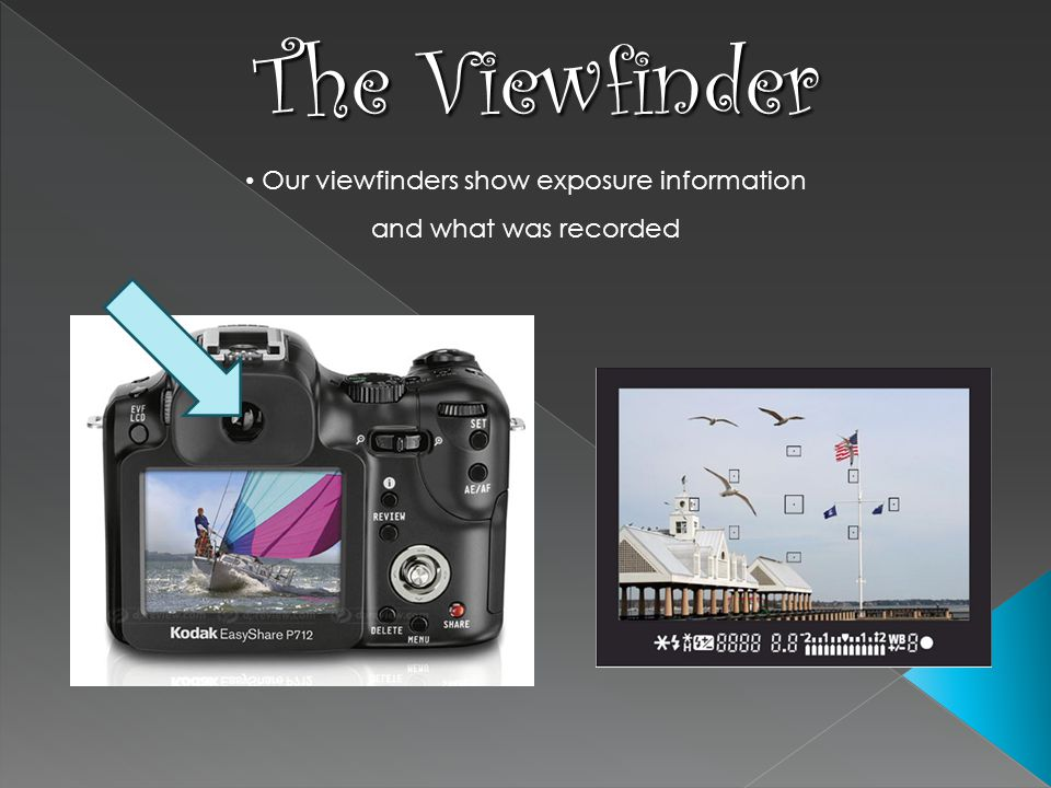 Our viewfinders show exposure information and what was recorded The Viewfinder