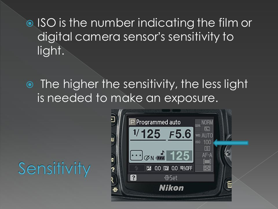  ISO is the number indicating the film or digital camera sensor's sensitivity to light.
