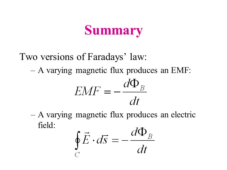 Summary Two versions of Faradays' law: –A varying magnetic flux produces an EMF: –A varying magnetic flux produces an electric field: