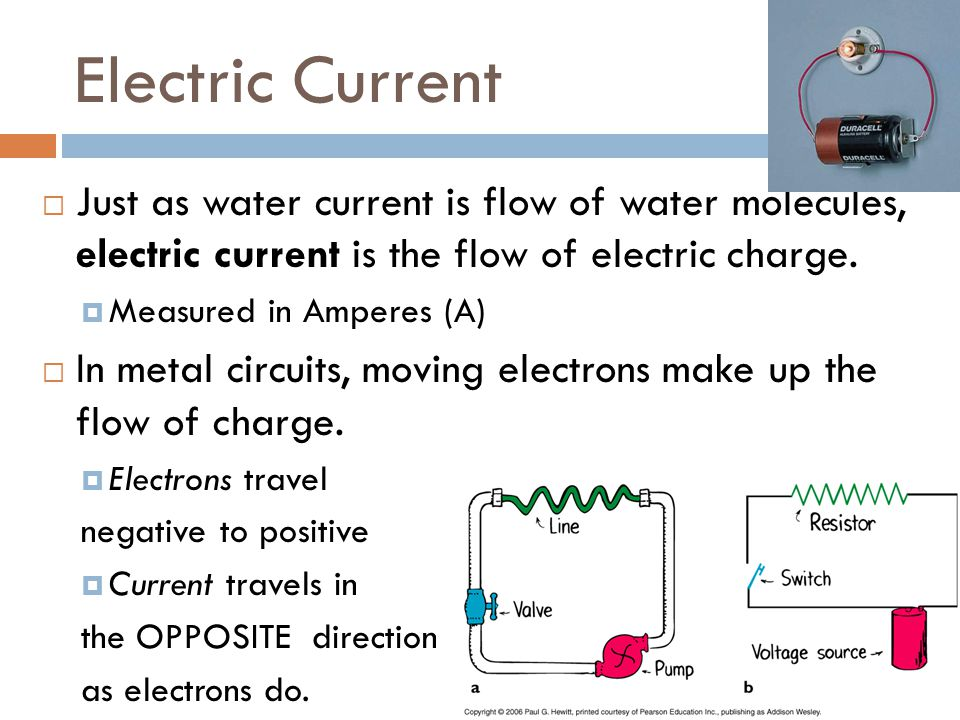 Electric Current  Just as water current is flow of water molecules, electric current is the flow of electric charge.