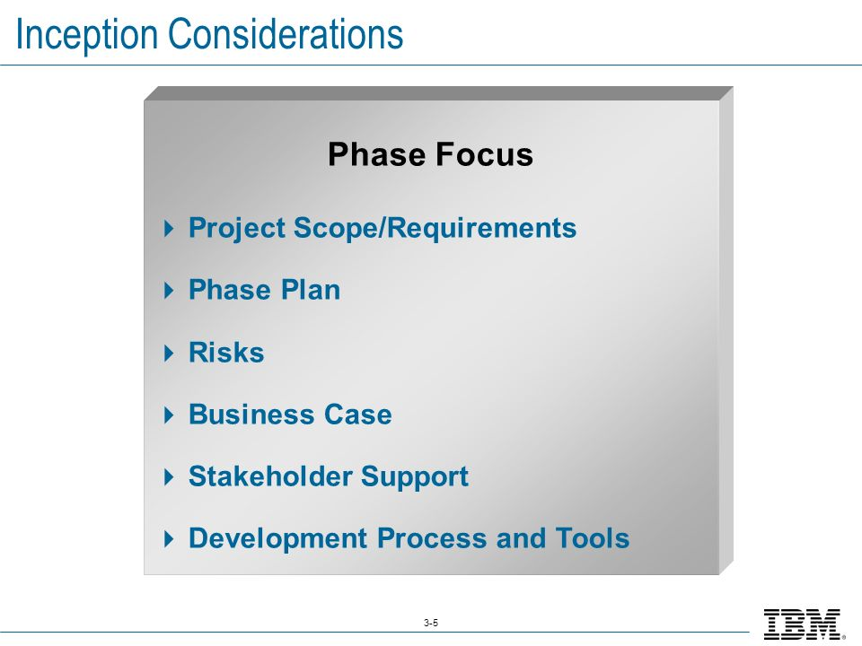 3-5 Inception Considerations Phase Focus  Project Scope/Requirements  Phase Plan  Risks  Business Case  Stakeholder Support  Development Process and Tools