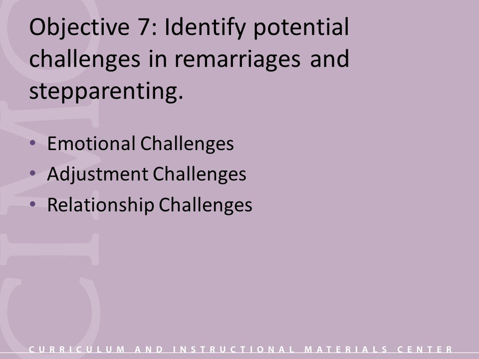 Objective 7: Identify potential challenges in remarriages and stepparenting.