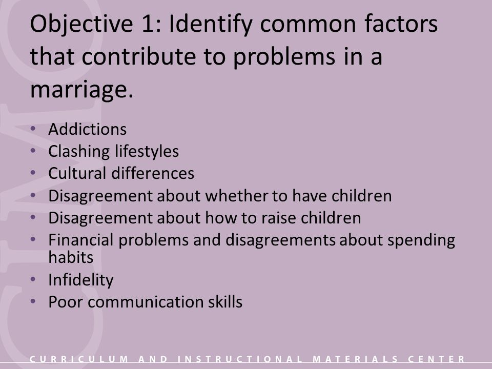 Objective 1: Identify common factors that contribute to problems in a marriage.