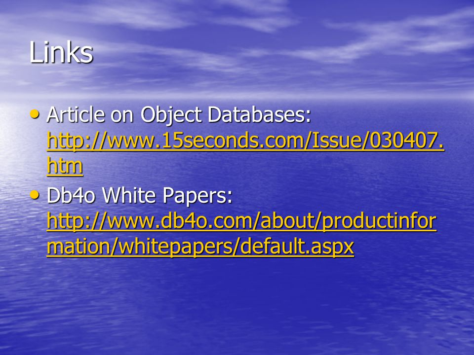 Links Article on Object Databases: