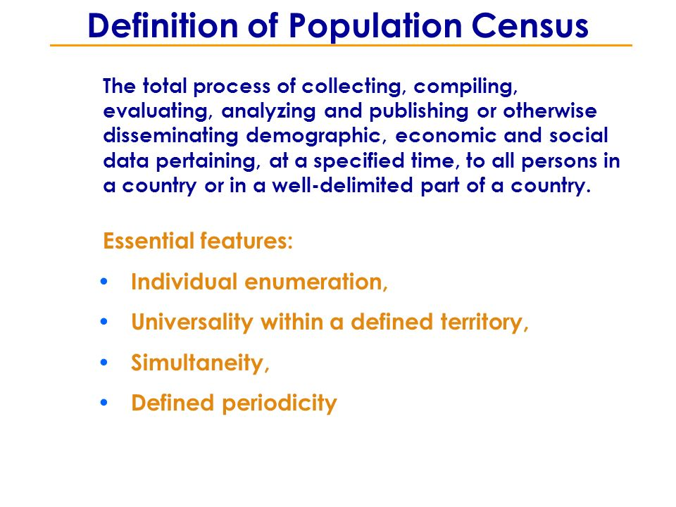 Definition of Population Census The total process of collecting, compiling, evaluating, analyzing and publishing or otherwise disseminating demographic, economic and social data pertaining, at a specified time, to all persons in a country or in a well-delimited part of a country.