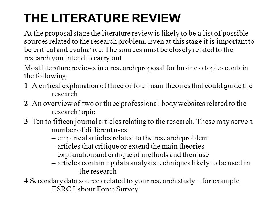 literature review thesis sample