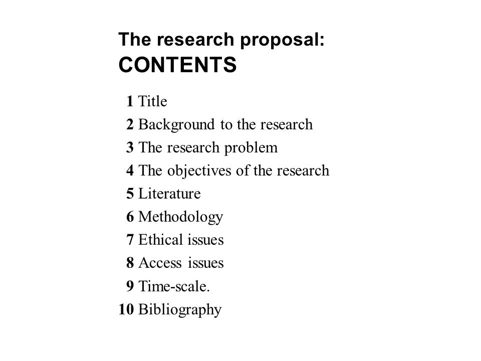 Methodology of a research proposal