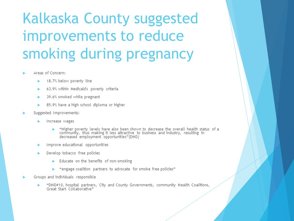 Kalkaska County suggested improvements to reduce smoking during pregnancy  Areas of Concern:  18.7% below poverty line  63.9% within Medicaid s poverty criteria  39.6% smoked while pregnant  85.9% have a high school diploma or higher  Suggested Improvements:  Increase wages  Higher poverty levels have also been shown to decrease the overall health status of a community, thus making it less attractive to business and industry, resulting in decreased employment opportunities (DHD)  Improve educational opportunities  Develop tobacco free policies  Educate on the benefits of non-smoking  engage coalition partners to advocate for smoke free policies  Groups and individuals responsible  DHD#10, hospital partners, City and County Governments, community Health Coalitions, Great Start Collaborative