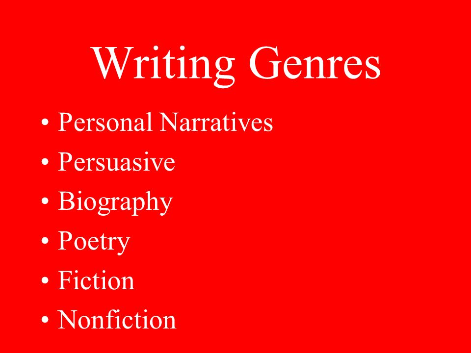 Writing Genres Personal Narratives Persuasive Biography Poetry Fiction Nonfiction