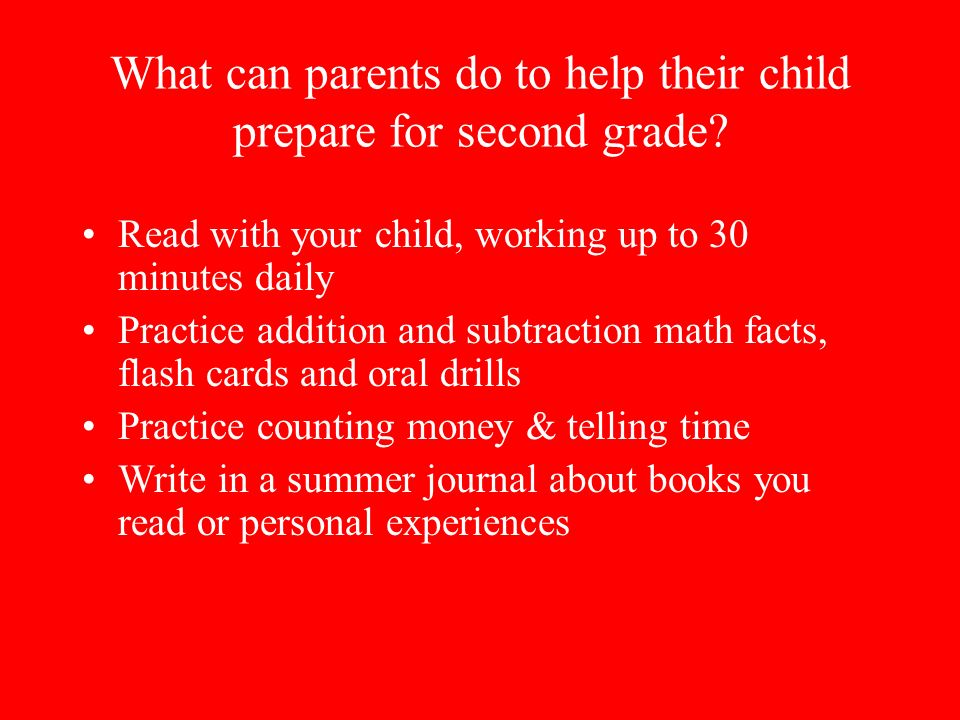 What can parents do to help their child prepare for second grade.