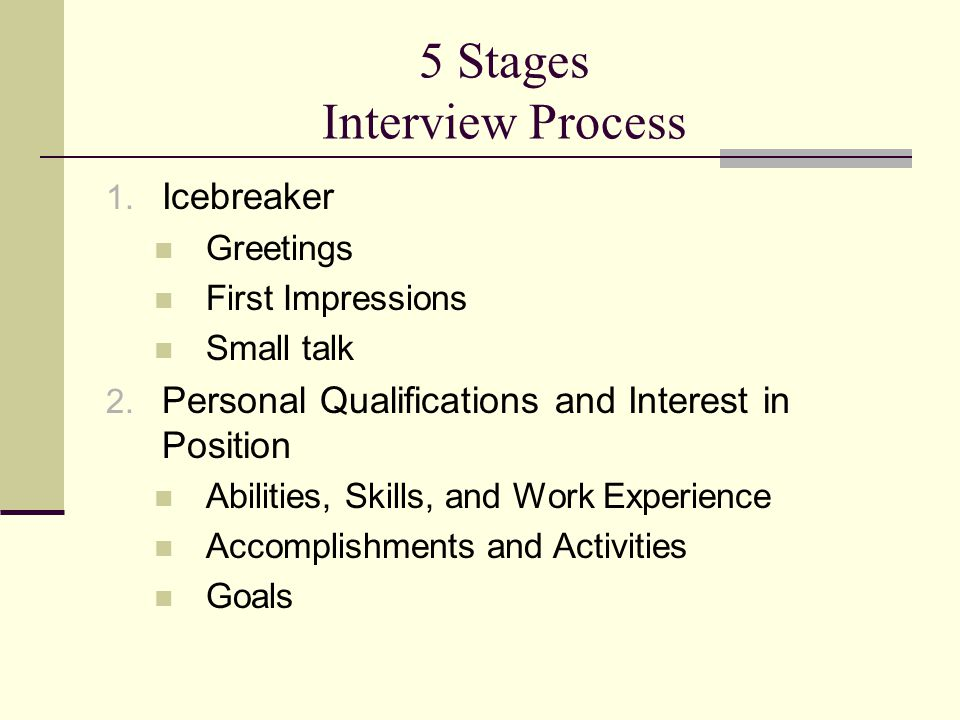 5 Stages Interview Process 1. Icebreaker Greetings First Impressions Small talk 2.