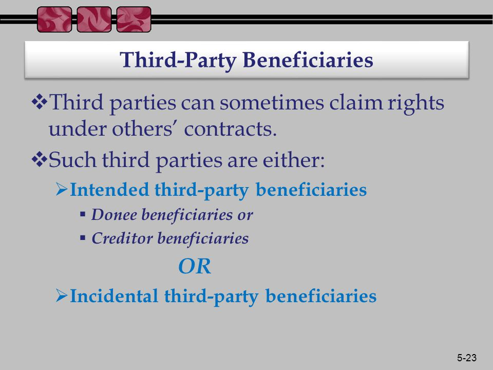 5-23 Third-Party Beneficiaries  Third parties can sometimes claim rights under others' contracts.