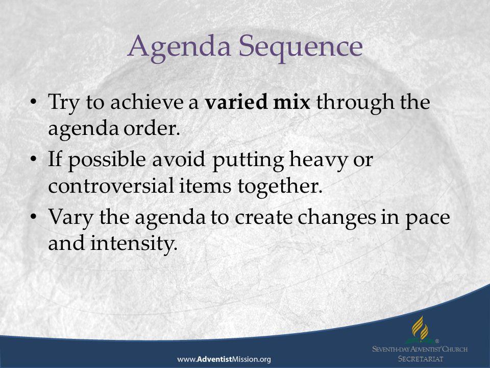 S ECRETARIAT Division Secretariat Advisory Preparing Meeting – How to Create a Agenda