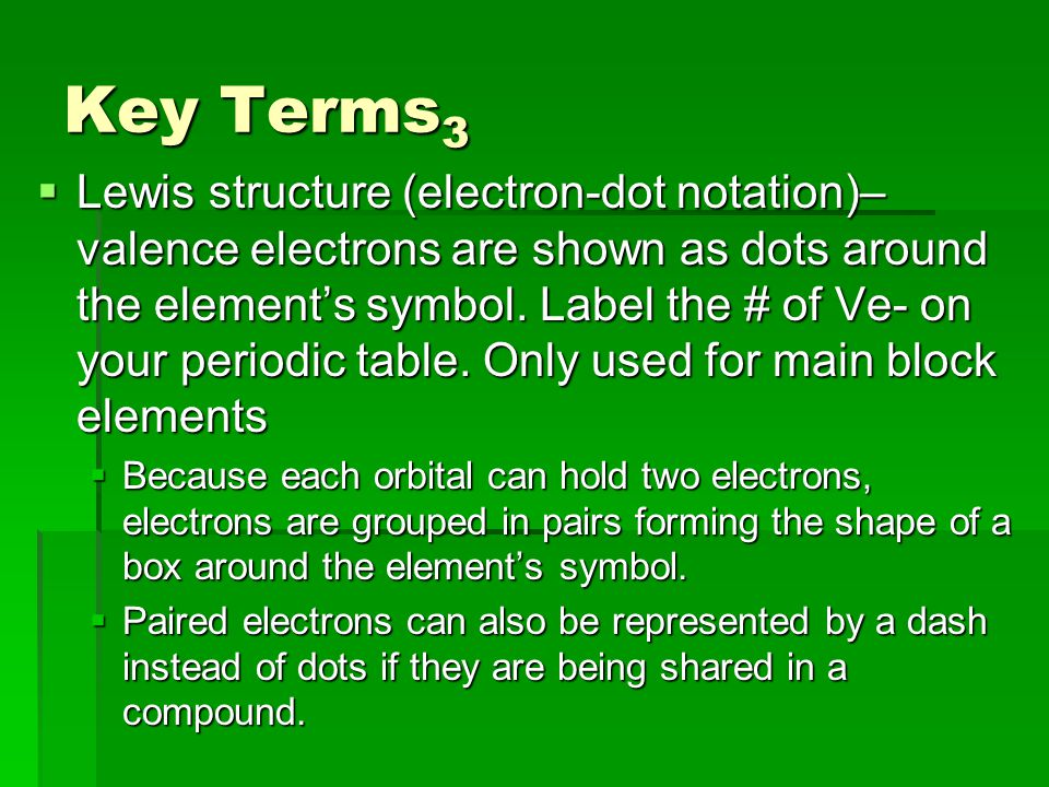 Key Terms 3  Lewis structure (electron-dot notation)– valence electrons are shown as dots around the element's symbol.