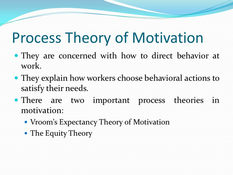 Process Theory of Motivation They are concerned with how to direct behavior at work.