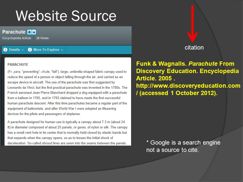 Website Source Funk & Wagnalls. Parachute From Discovery Education.