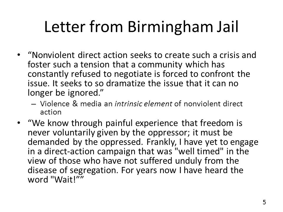 "an analysis of an excerpt from a letter from birmingham jail by dr martin luther king jr Martin luther king's inspiration for writing his, ""letter from birmingham jail"" was mainly to appeal to an undeniable injustice that occurred during his time."