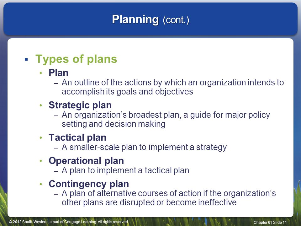 © 2013 South-Western, a part of Cengage Learning. All rights reserved. Chapter 6 | Slide 11  Types of plans Plan – An outline of the actions by which