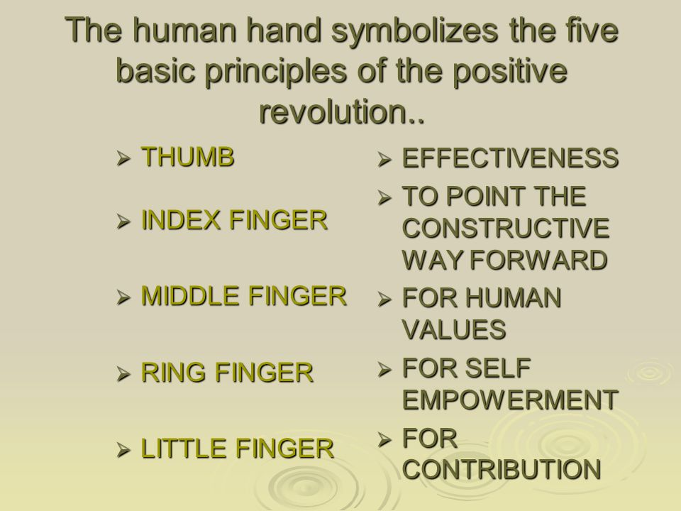 The human hand symbolizes the five basic principles of the positive revolution..