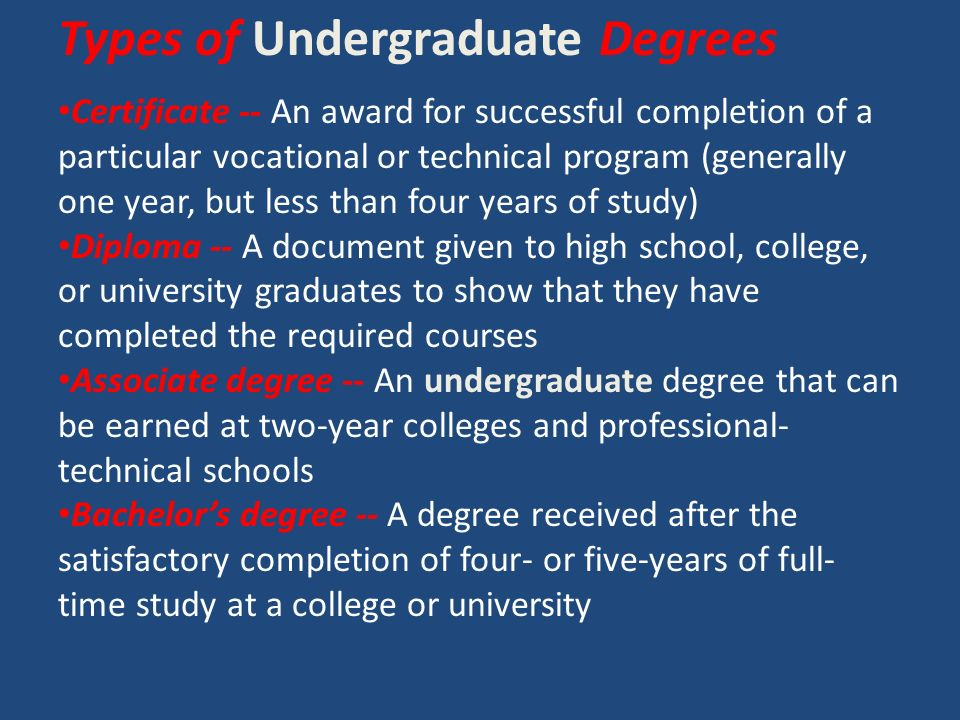 Types of Undergraduate Degrees Certificate -- An award for successful completion of a particular vocational or technical program (generally one year, but less than four years of study) Diploma -- A document given to high school, college, or university graduates to show that they have completed the required courses Associate degree -- An undergraduate degree that can be earned at two-year colleges and professional- technical schools Bachelor's degree -- A degree received after the satisfactory completion of four- or five-years of full- time study at a college or university